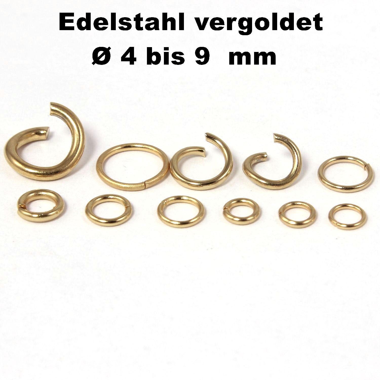 Edelstahl zum Basteln für Schmuck Ø Außen 9 mm Ösen Biegeringe 2,6 mm Breit