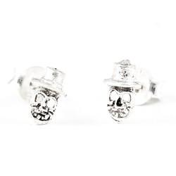 Ohrstecker Totenkopf  klein mit Hut  Silber