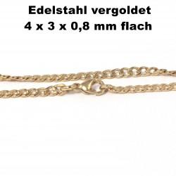 Kette, Halskette, Armband, Fußkettchen, aus Edelstahl vergoldet ,Länge frei wählbar