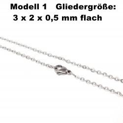 Edelstahl Ketten Halskette, Armband, Fußkettchen, Länge frei wählbar -  Modell 1