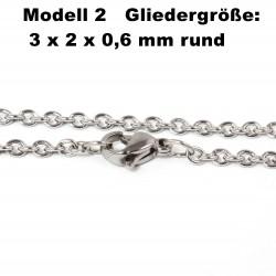 Edelstahl Ketten Halskette, Armband, Fußkettchen, Länge frei wählbar -  Model 2