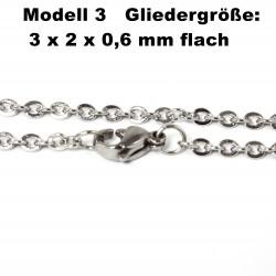 Edelstahl Ketten Halskette, Armband, Fußkettchen, Länge frei wählbar -  Modell 3