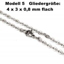 Edelstahl Ketten Halskette, Armband, Fußkettchen, Länge frei wählbar -  Modell 5