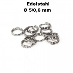 Biegeringe doppelt, Schlüsselringe 5 / 0,6 mm Durchmesser / Stärke Edelstahl