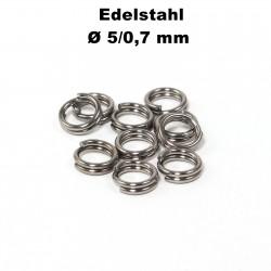 Biegeringe doppelt, Schlüsselringe 5 / 0,7 mm Durchmesser / Stärke Edelstahl