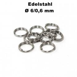 Biegeringe doppelt, Schlüsselringe 6 / 0,6 mm Durchmesser / Stärke Edelstahl