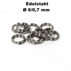 Biegeringe doppelt, Schlüsselringe 6 / 0,7 mm Durchmesser / Stärke Edelstahl
