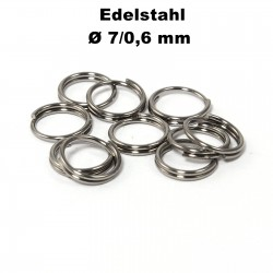 Biegeringe doppelt, Schlüsselringe 7 / 0,6 mm Durchmesser / Stärke Edelstahl