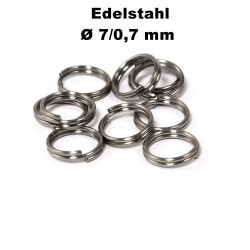 Biegeringe doppelt, Schlüsselringe 7 / 0,7 mm Durchmesser / Stärke Edelstahl