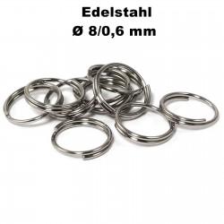 Biegeringe doppelt, Schlüsselringe 8 / 0,6 mm Durchmesser / Stärke Edelstahl