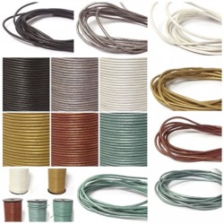 Lederbänder Echt Büffelleder - Metallic-Farben - Ø 2 mm / 1-100 Meter am Stück