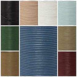 Lederbänder Echt Büffelleder - in 9 Farben - Ø 2 mm / 1-100 Meter am Stück
