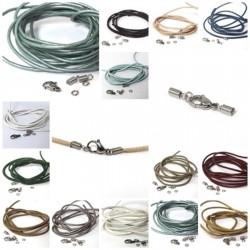 Ketten-, Armband-Verschluss-Set aus Edelstahl + 1 m Lederband Ø 2 mm
