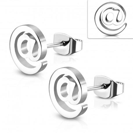 Ohrstecker AT / Email - Symbol aus Edelstahl
