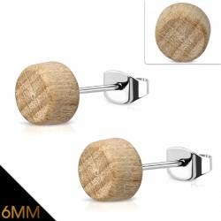 Ohrstecker Holz Durchmesser 6 mm mit Edelstahl-Stift