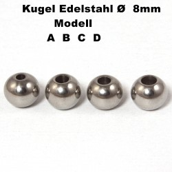 Kugeln Perlen aus Edelstahl mit Loch Ø 8 mm zum Basteln für Schmuck