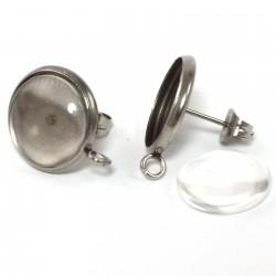 Echt Silber Verschluss Bastelset-Ohrstecker Rohling 10 mm Cabochon Döschen
