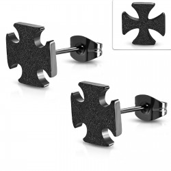 Ohrstecker Eisernes Kreuz, Malteser Kreuz schwarz sandbestrahlt aus Edelstahl