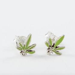 Ohrstecker Cannabis grün in Silber eingefasst