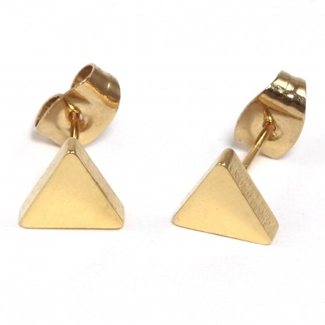 Ohrstecker Dreieck schlicht aus Edelstahl vergoldet
