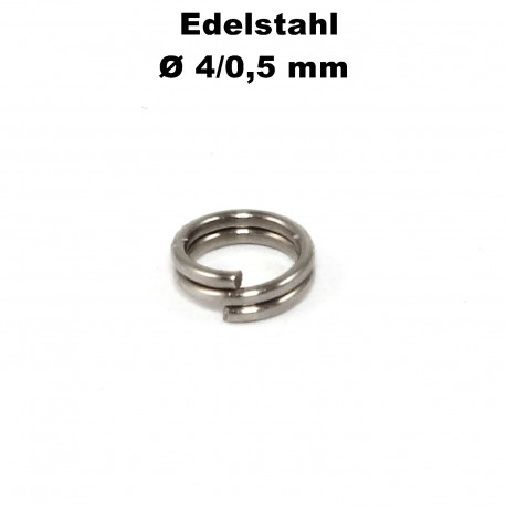 Biegeringe doppelt, Schlüsselringe 4 / 0,5 mm Durchmesser / Stärke Edelstahl