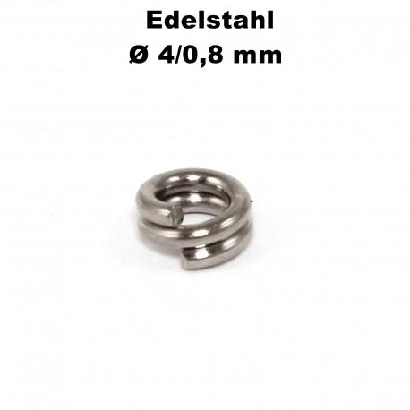 Biegeringe doppelt, Schlüsselringe 4 / 0,8 mm Durchmesser / Stärke Edelstahl