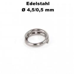 Biegeringe doppelt, Schlüsselringe 4,5 / 0,5 mm Durchmesser / Stärke Edelstahl