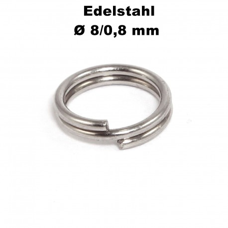 Biegeringe doppelt, Schlüsselringe 8 / 0,8 mm Durchmesser / Stärke Edelstahl