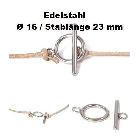 Knebelverschluss, Kettenverschluss, Edelstahl, Ring Ø 16 mm, Stab 23 mm