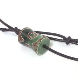 Dzi-Stein, Tibetischer Achat, Mystik, Einzelstück, Kette mit Büffellederband