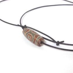 Dzi-Stein, Tibetischer Achat, Einzelstück, Kette mit Büffellederband