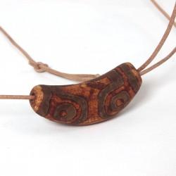 Dzi-Stein, Tibetischer Achat, Einzelstück, Kette mit Rindlederband