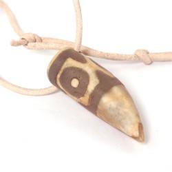Dzi-Stein, Tibetischer Achat, Kette mit Lederband
