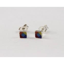 Ohrstecker Quadrat Regenbogenfarben in Silber eingefasst